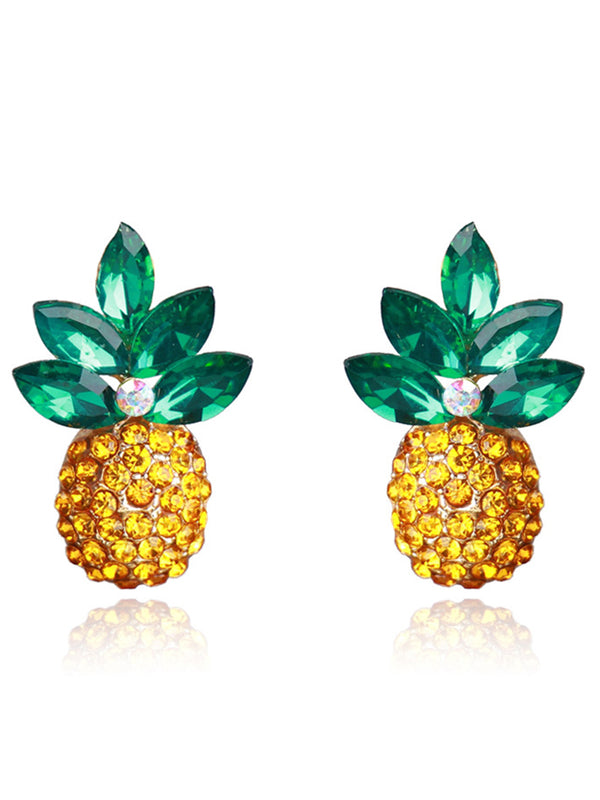 Pineapple Earrings Necklace for Women Jewelry Vacation Beach