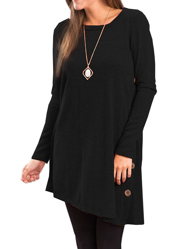 Long Sleeve Asymmetric Solid Shift T-Shirt
