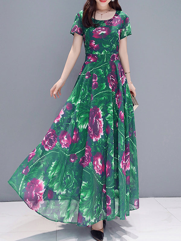 Plus Size Floral Printed Vintage Square Neck Short Sleeve Maxi Dresses