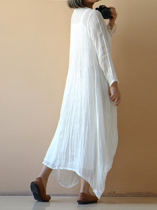 Long Sleeve Shift Solid Casual Dress