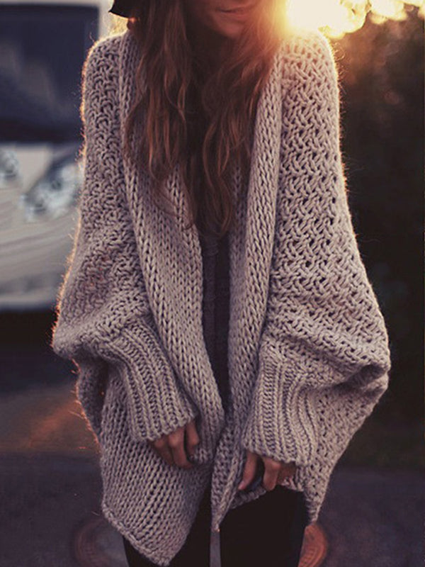 Daily Solid Casual Knitted Batwing Cardigan