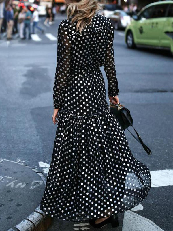 Black V-Neck Long Sleeve Chiffon Dress