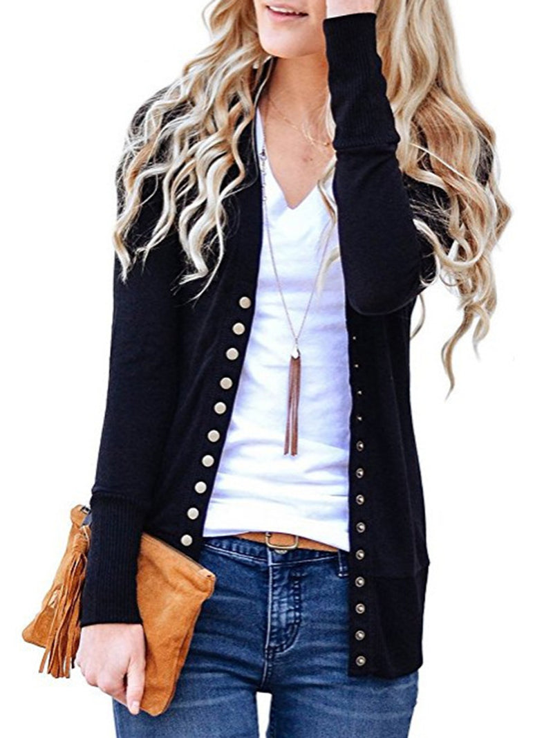 Long Sleeve Solid Casual Cardigans