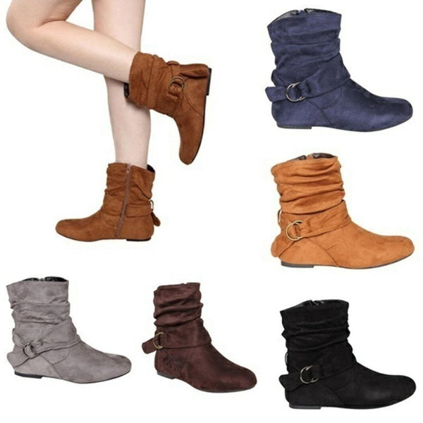 Flat Heel Suede Buckle Strap Fur Lined Round Toe Boots