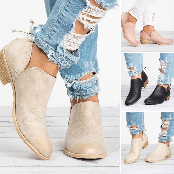 Plus Size Chunky Heel Short Boots Female Non-slip Cute Boots