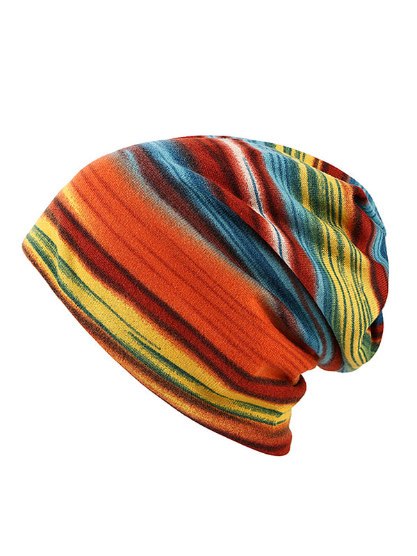 Women Cashmere Colorful Stripe Casual Outdoor Windproof Collars Hat