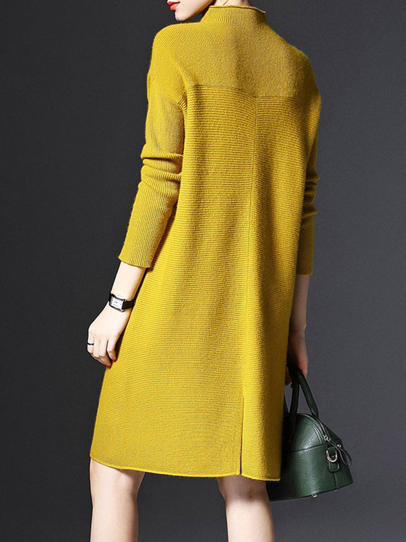 Shift Solid Casual Long Sleeve Knitted Plus Size Sweater Dress