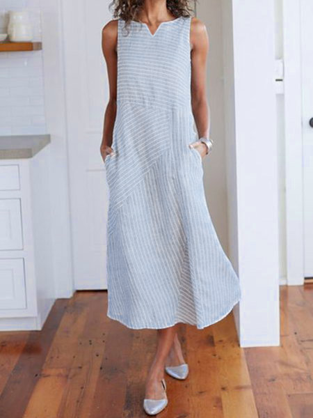 V Neck Women Casual Linen Dresses Holiday Striped Dresses
