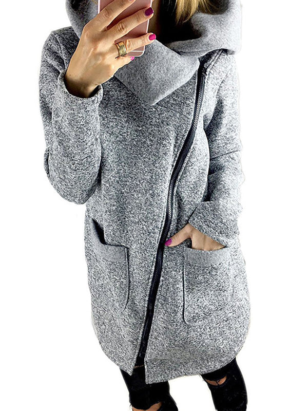 Plus Size Long Sleeve Shawl Collar Solid Pockets Coat