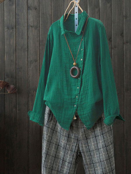 Shirt Collar Long Sleeve Casual Asymmetrical Shirt