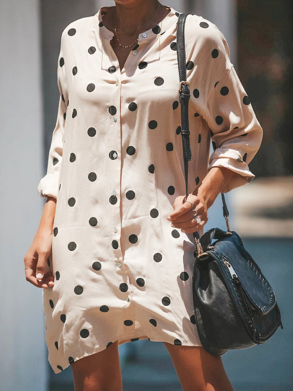 Beige Polka Dots Stand Collar Casual Buttoned Dress