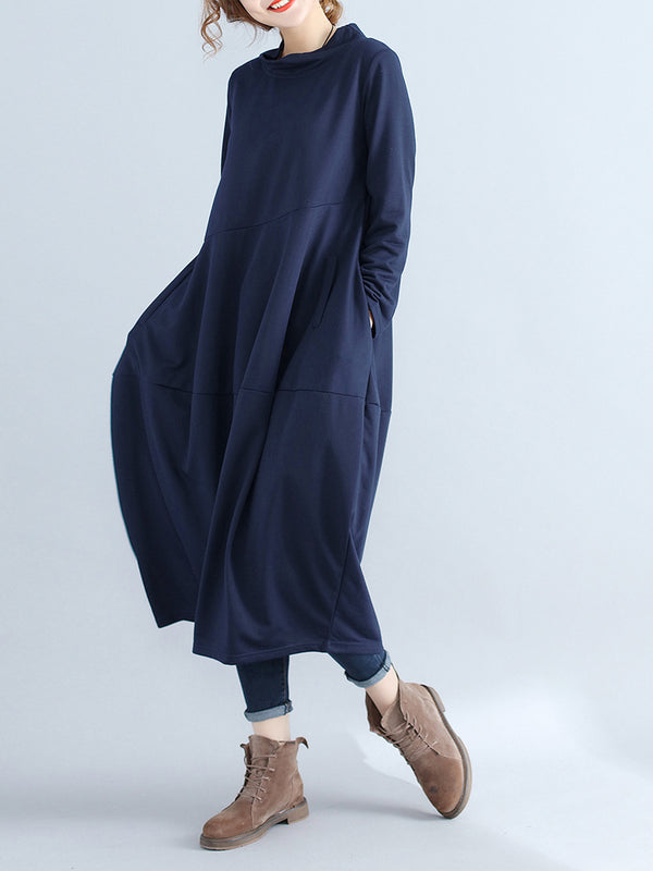 Plus Size Long Sleeve Casual Solid Pockets Cocoon Dress
