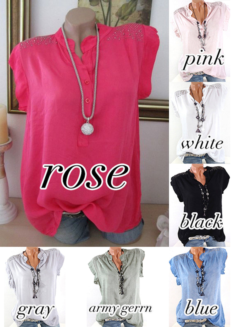 Short Sleeve Casual Stand Collar Tops