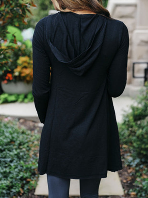 Black Casual Asymmetric Long Sleeve Solid Hoodie Coat