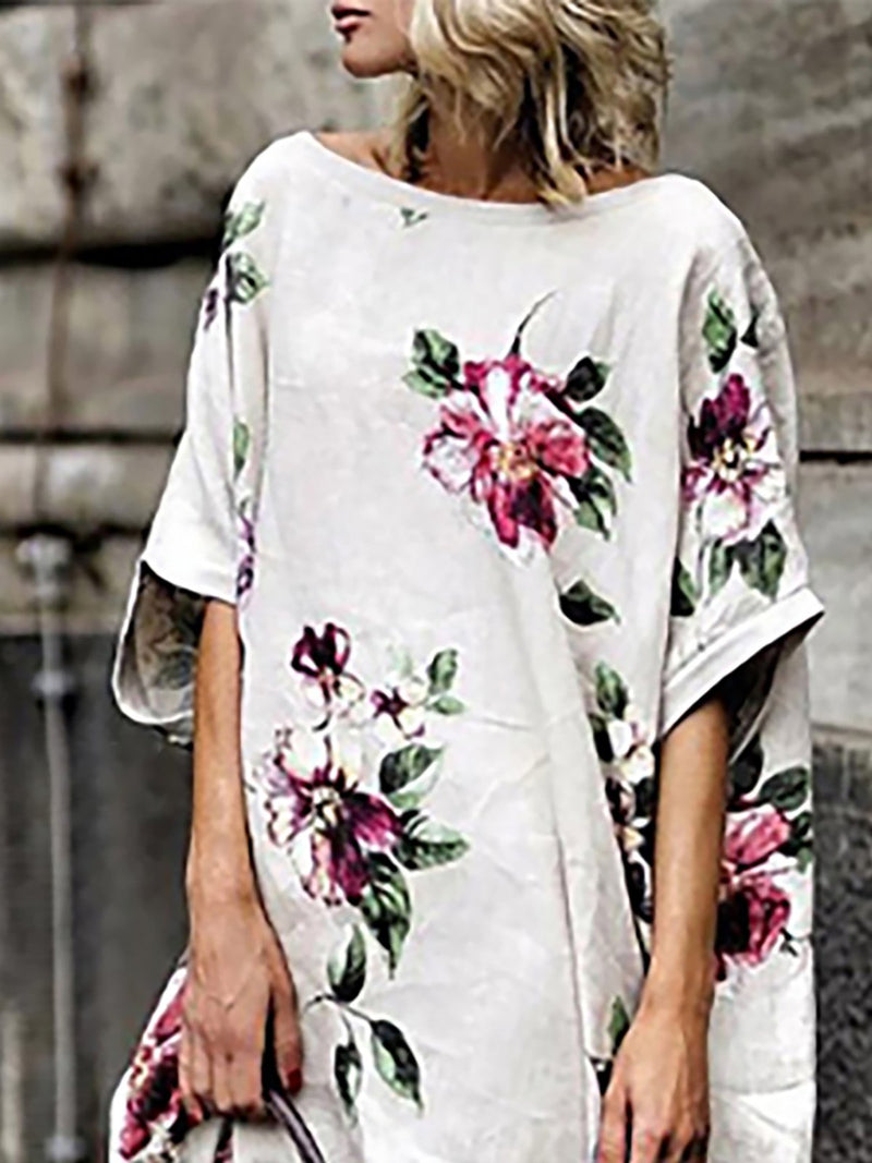 Plus Size White Half Sleeve Floral Printed Casual Dress
