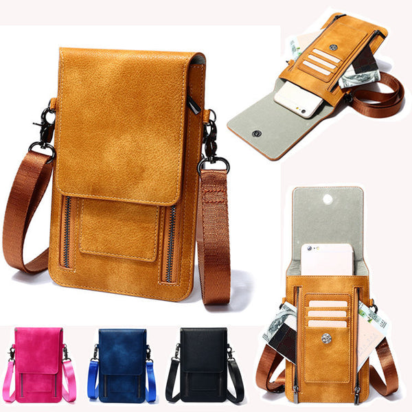 Retro Genuine Leather Card Holder 6 inch Phone Purse Crossbody Bags