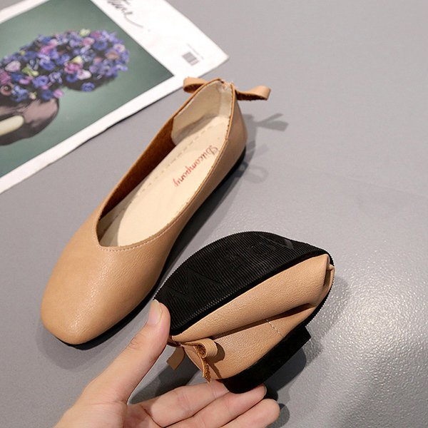 Bowknot PU Slip-On Flat Soft Casual Shoes