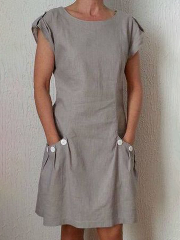 Women Summer Linen Dress Plus Size Pockets Zipper Back Shift