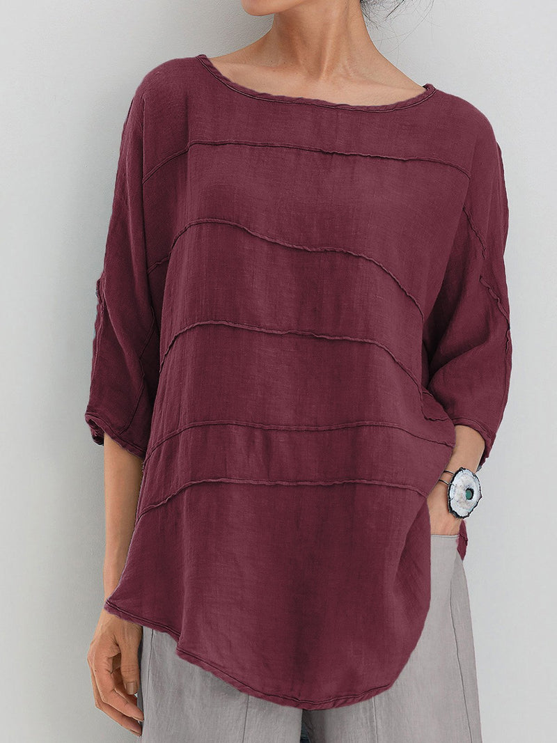 Summer Tops 3/4 Batwing Sleeves Round Neck Solid Blouse