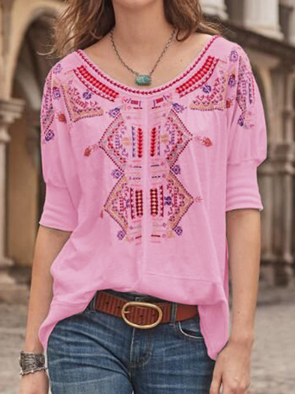 Women Tops Half Sleeves Round Neck Casual Tribal Blouses