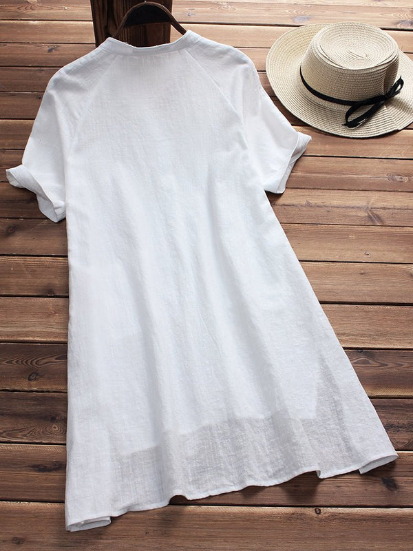 Plus Size Casual Solid Short Sleeve Buttoned Slit Dress