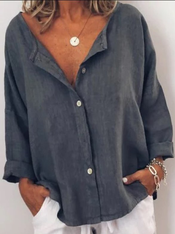 Plus Size Shirt Casual Solid V Neck  Long Sleeve Buttoned Blouse