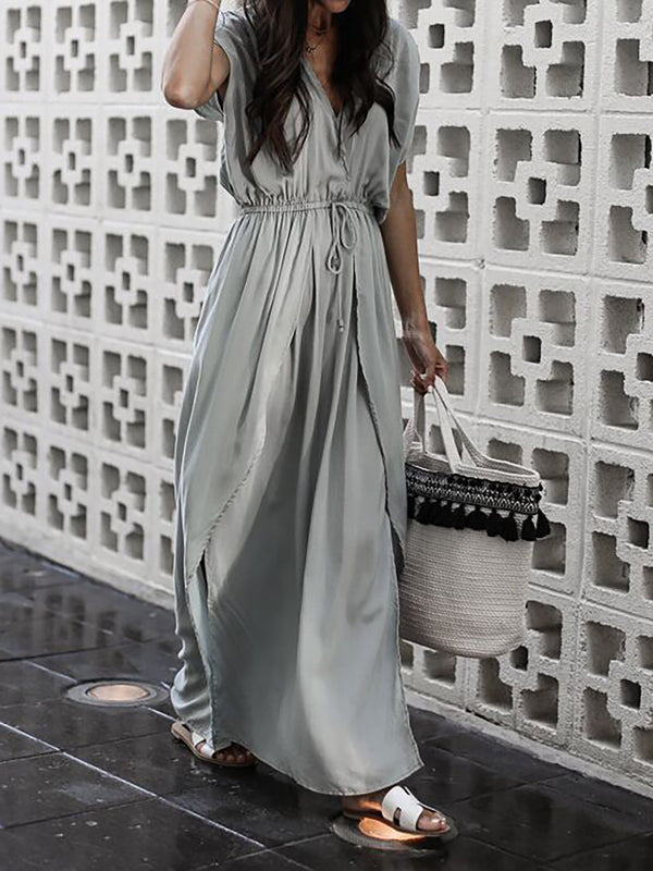 Gray Short Sleeve Solid V Neck Swing Dress