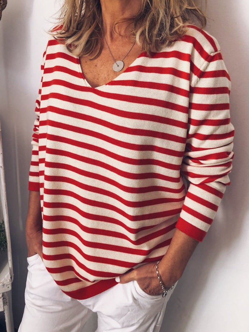 Spring Casual Printed V Neck Stripes Shirts
