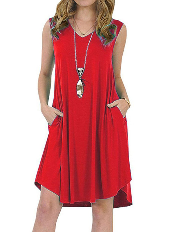 Sleeveless Casual Pockets V Neck Plus Size Dress