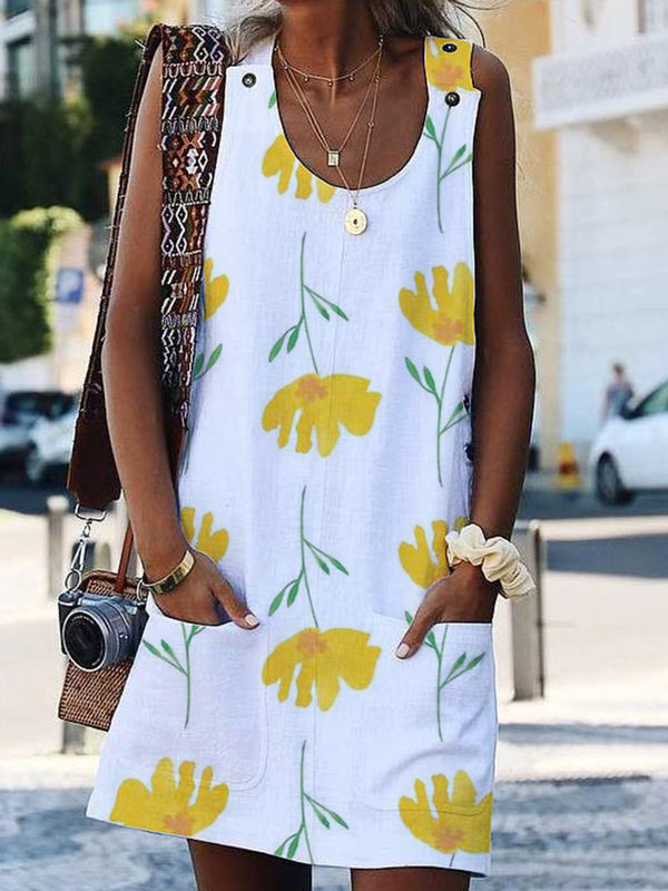 Floral Sleeveless Casual Shift Dress
