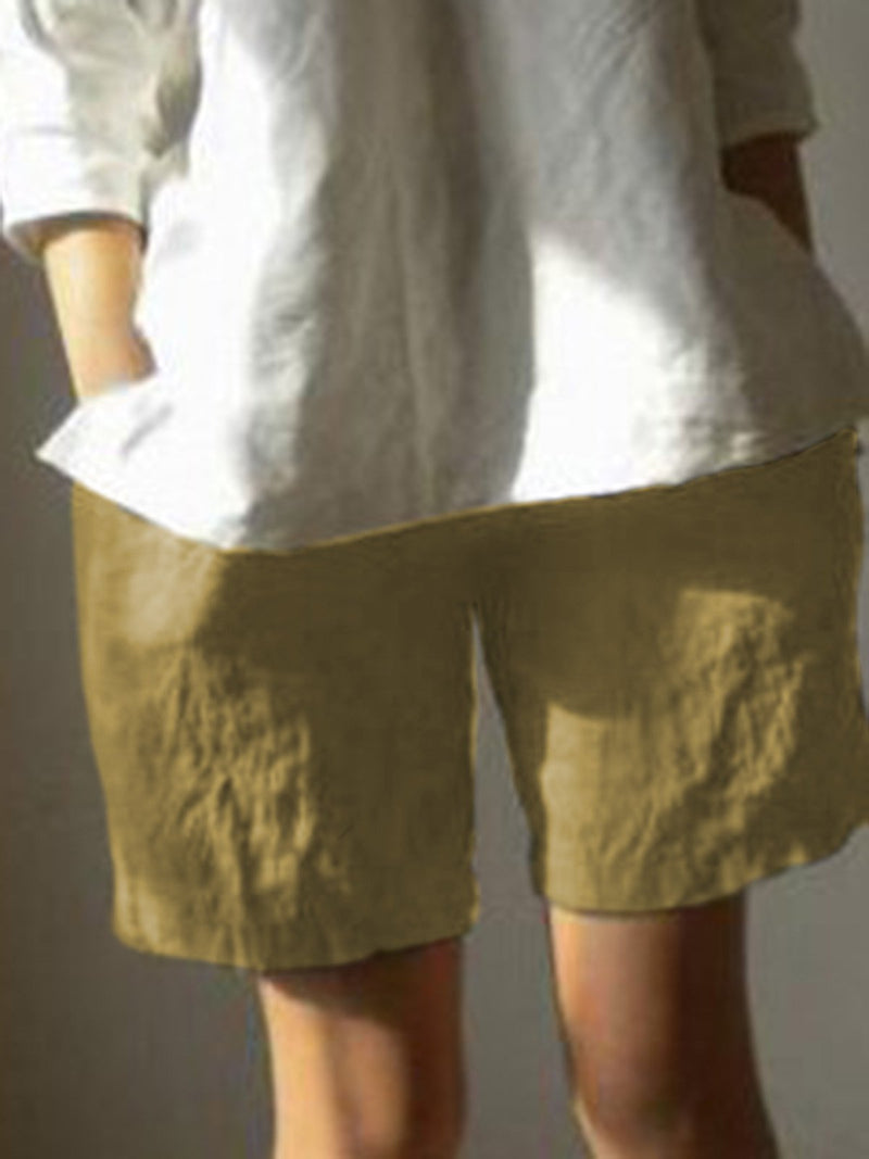 High Quality Linen Solid Pants Shorts