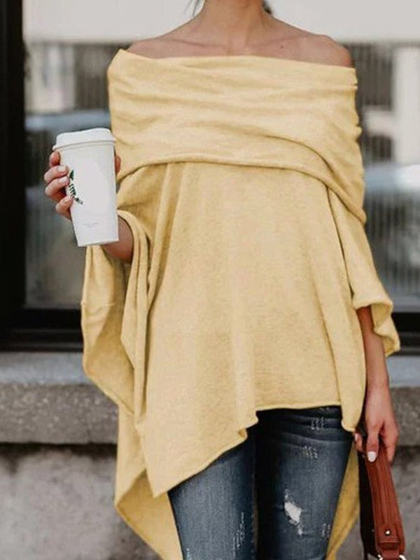 Asymmetrical Batwing Solid Cotton Tops