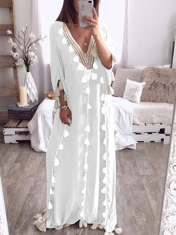 V Neck Tassels Bohemian Half Sleeve Maxi Dress