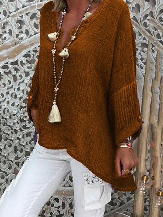 Solid Casual Long Sleeve V Neck Blouse
