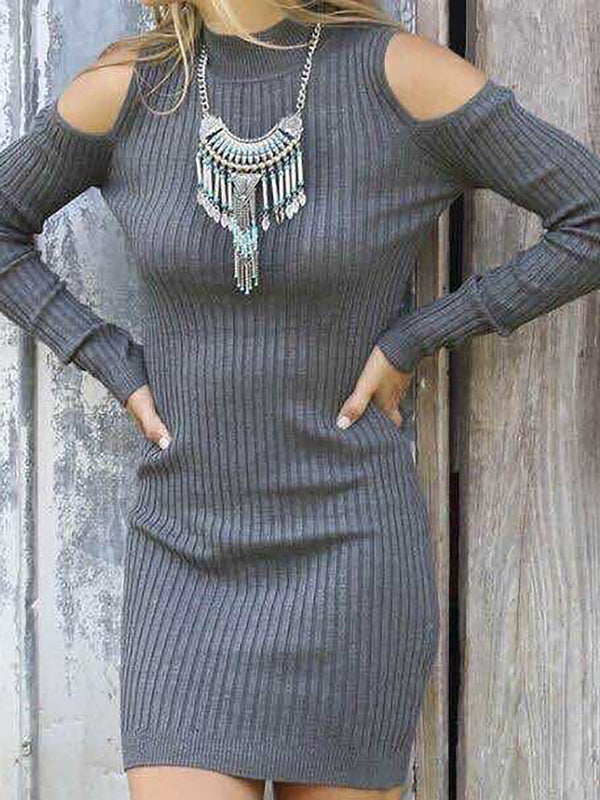 Deep Gray Casual Knitted Bodycon Sweater Dress