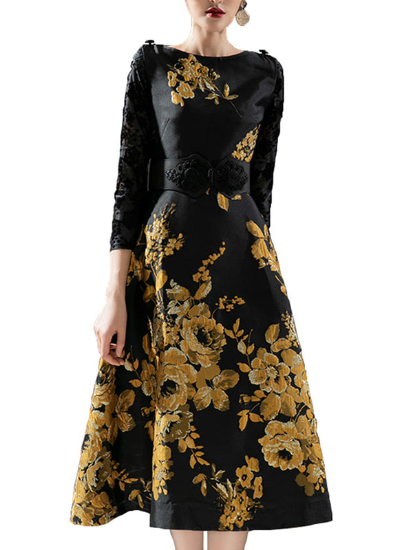 A-Line Cocktail Elegant Floral-Print Midi Dress