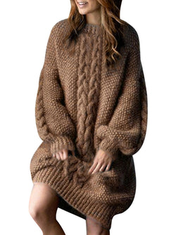 Brown Shift Daily Elegant Sweater Dress