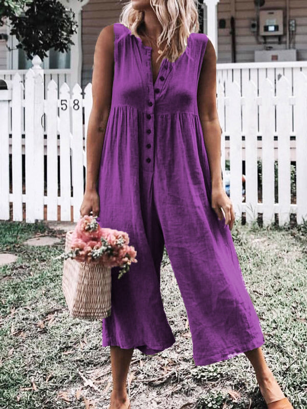 Solid Casual Buttoned Polyester  Sleeveless Jumpsuits