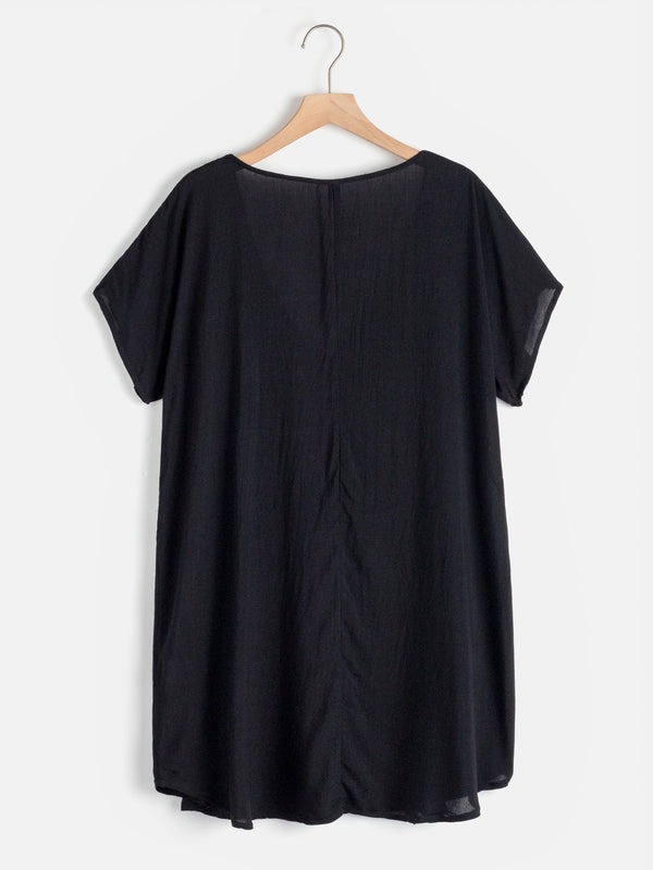 Black V-neck Daily Boho Tassel Summer Dress
