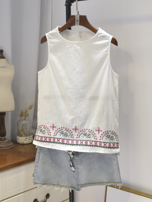 Summer Casual Embroidery Sleeveless Tops