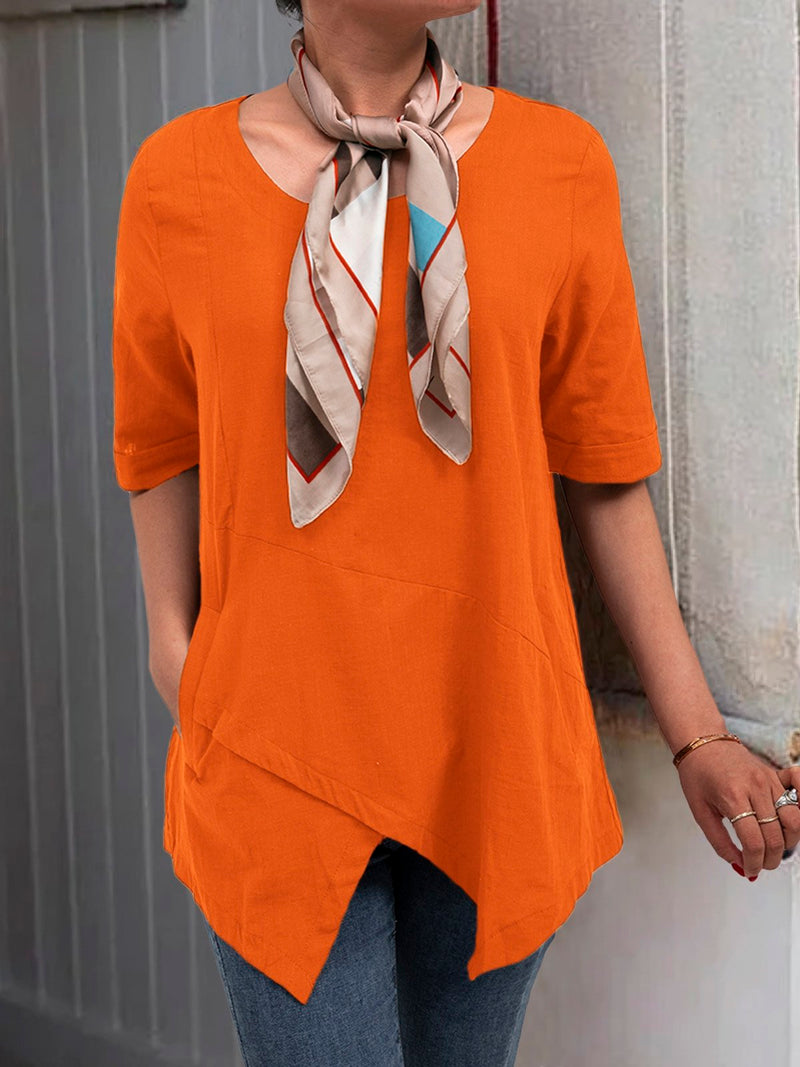 Half Sleeve Irregular Plus Size Blouses Asymmetrical Hem Shirt