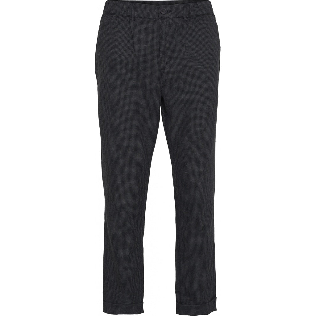 Knowledge Cotton Apparel - Pantalon à carreaux gris en tencel et coton bio