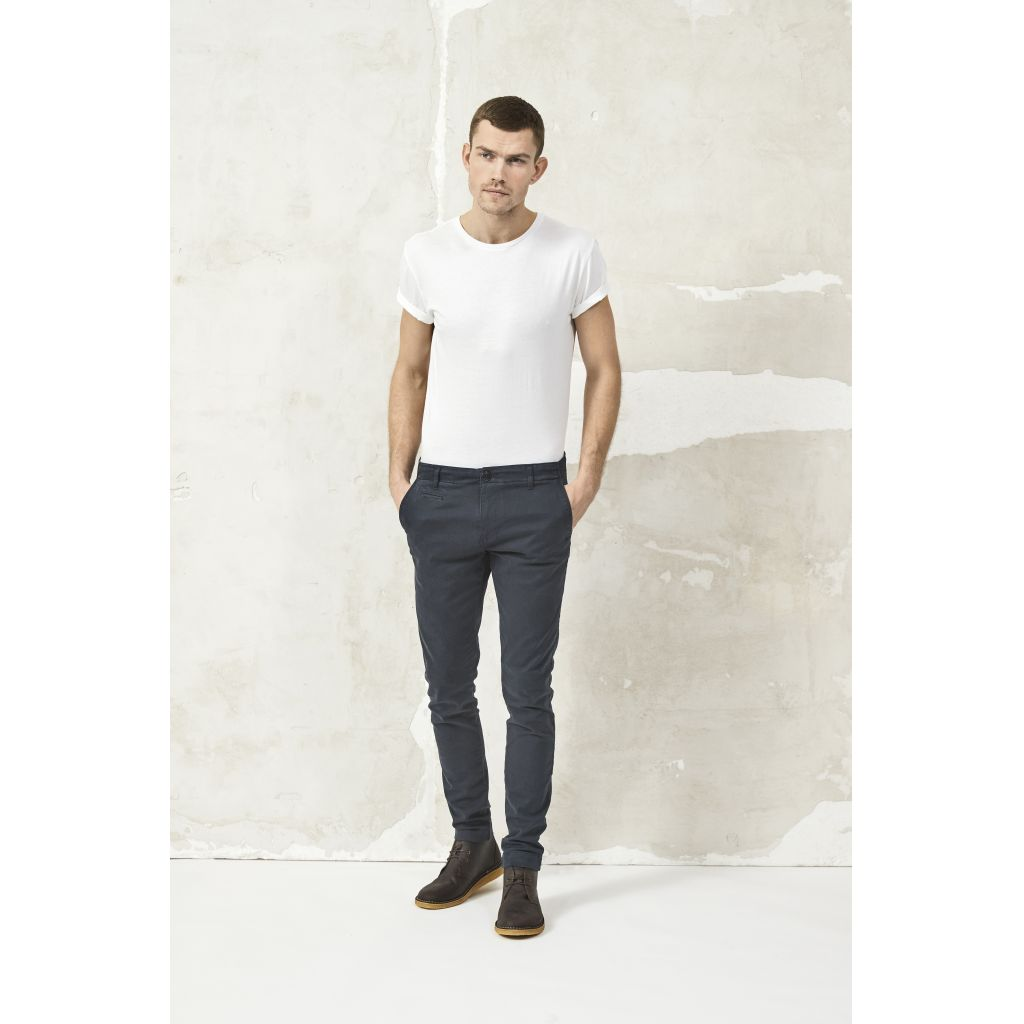 Pantalon chino marine en coton bio - Knowledge Cotton Apparel num 0