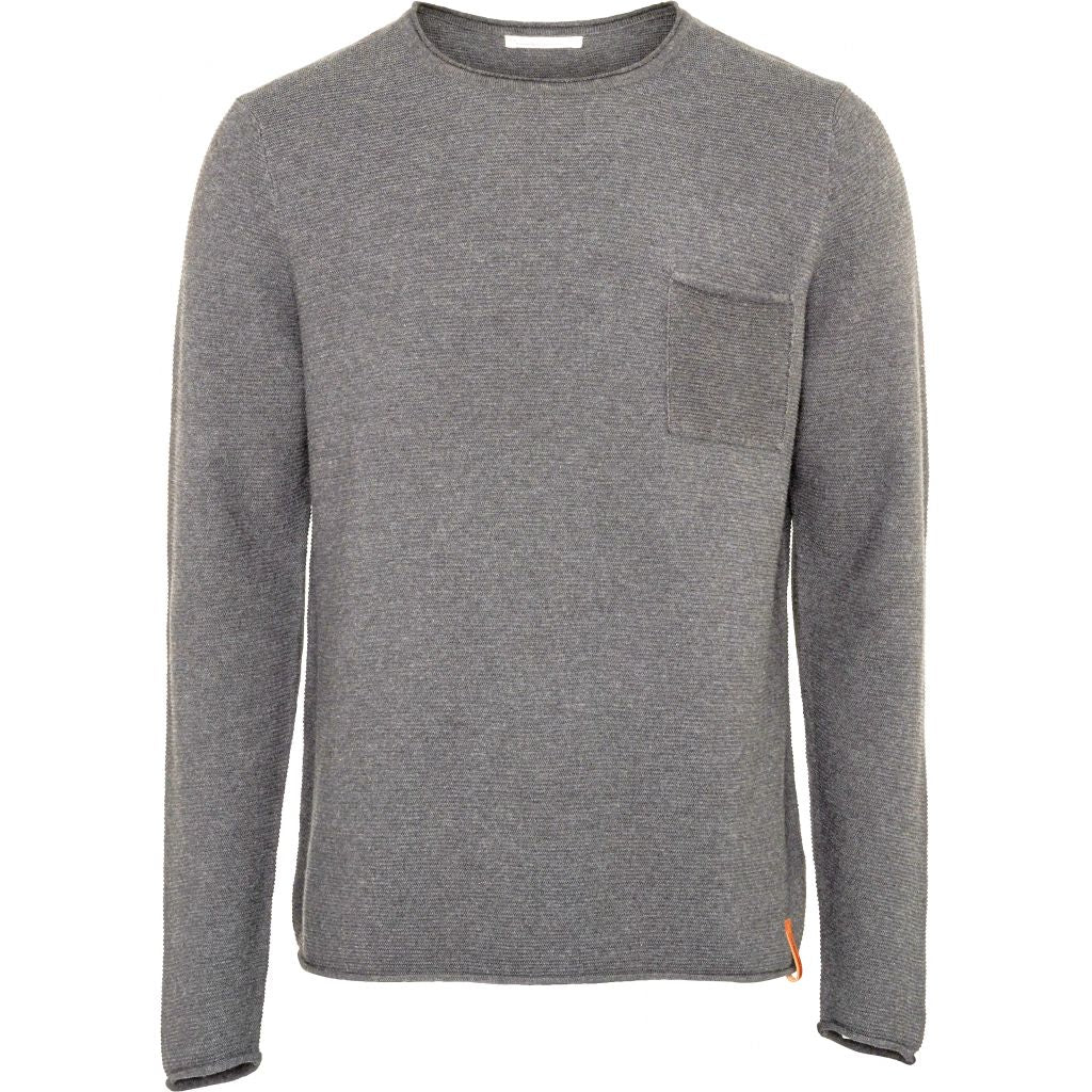 Knowledge Cotton Apparel - Pull fin gris en coton bio