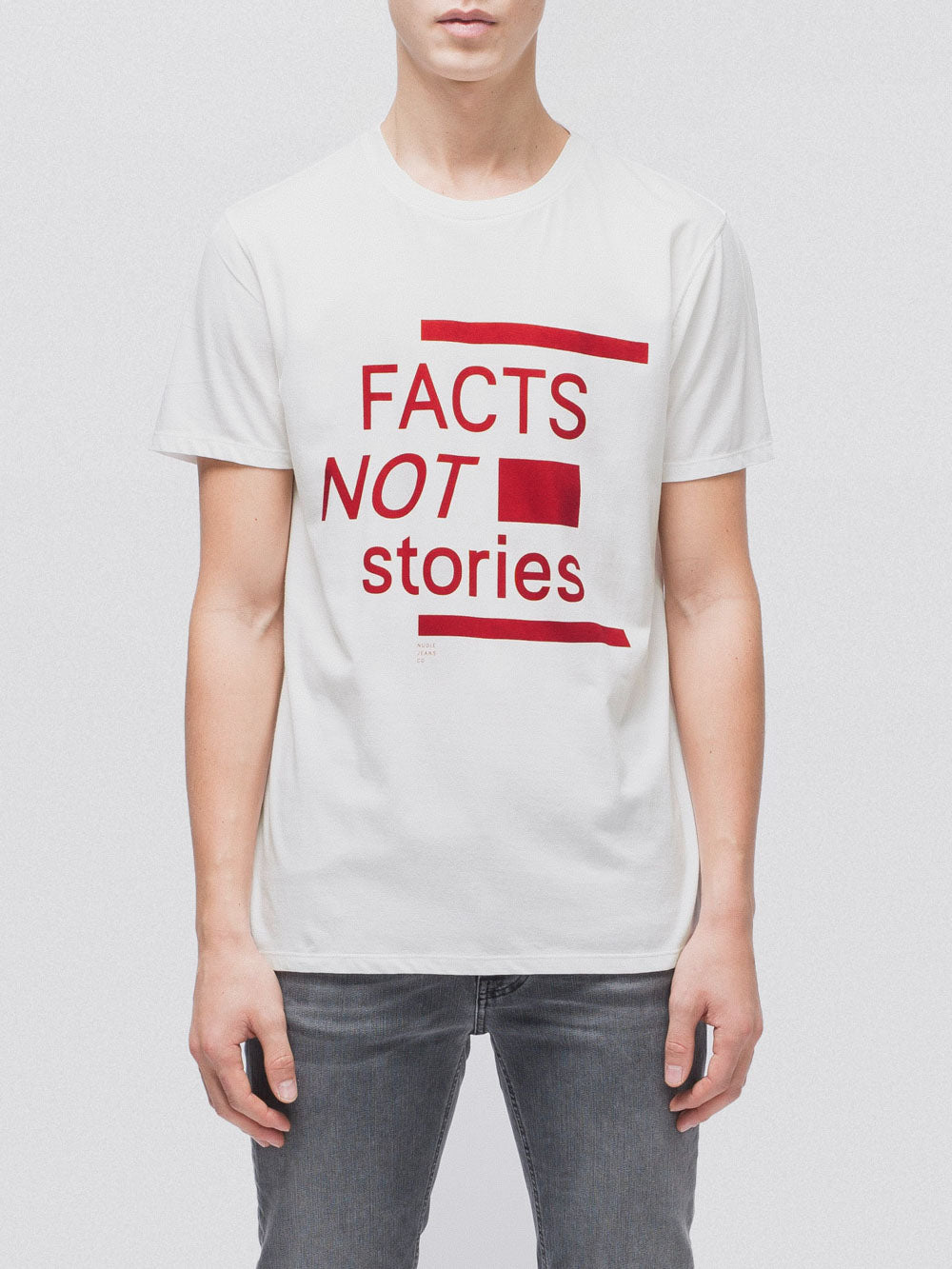 T-shirt imprimé blanc en coton bio - anders facts not stories - Nudie Jeans num 0
