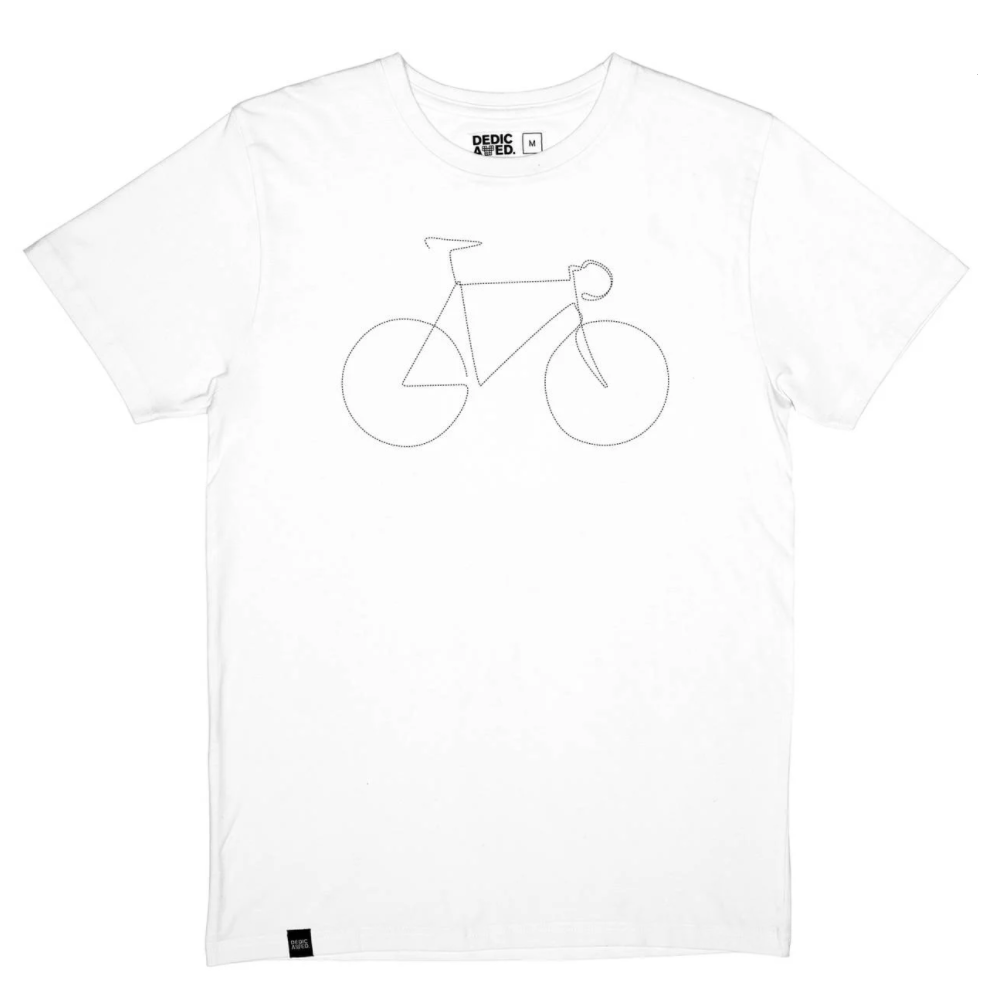 T-shirt blanc en coton bio vélo - Dedicated