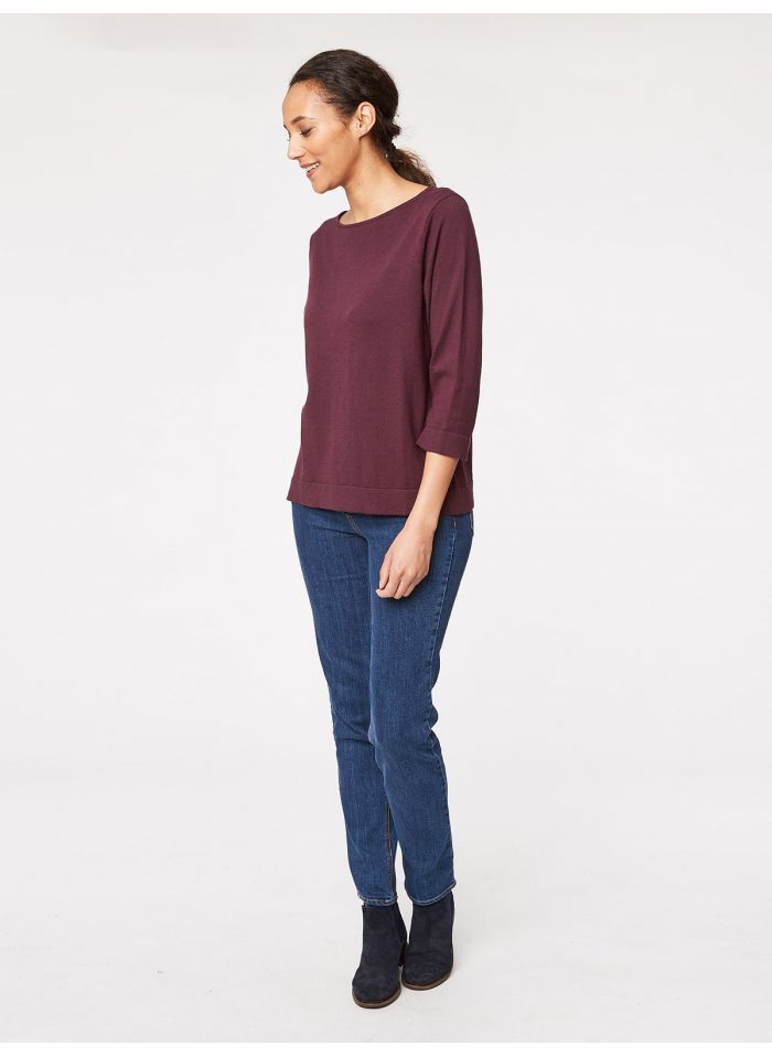 Pull bordeaux en coton bio et laine - Thought