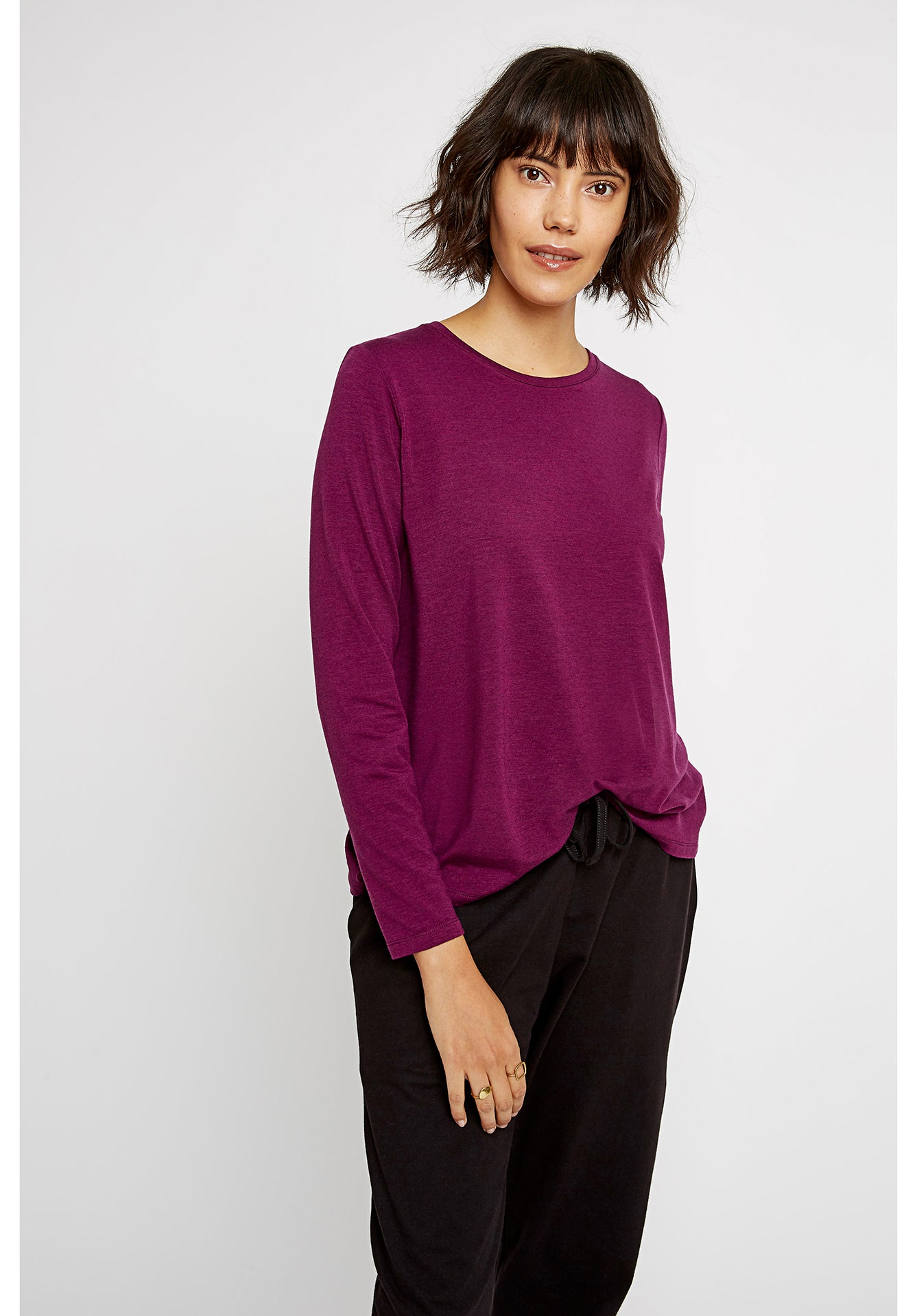 People Tree - T-shirt manches longues violet - amara top