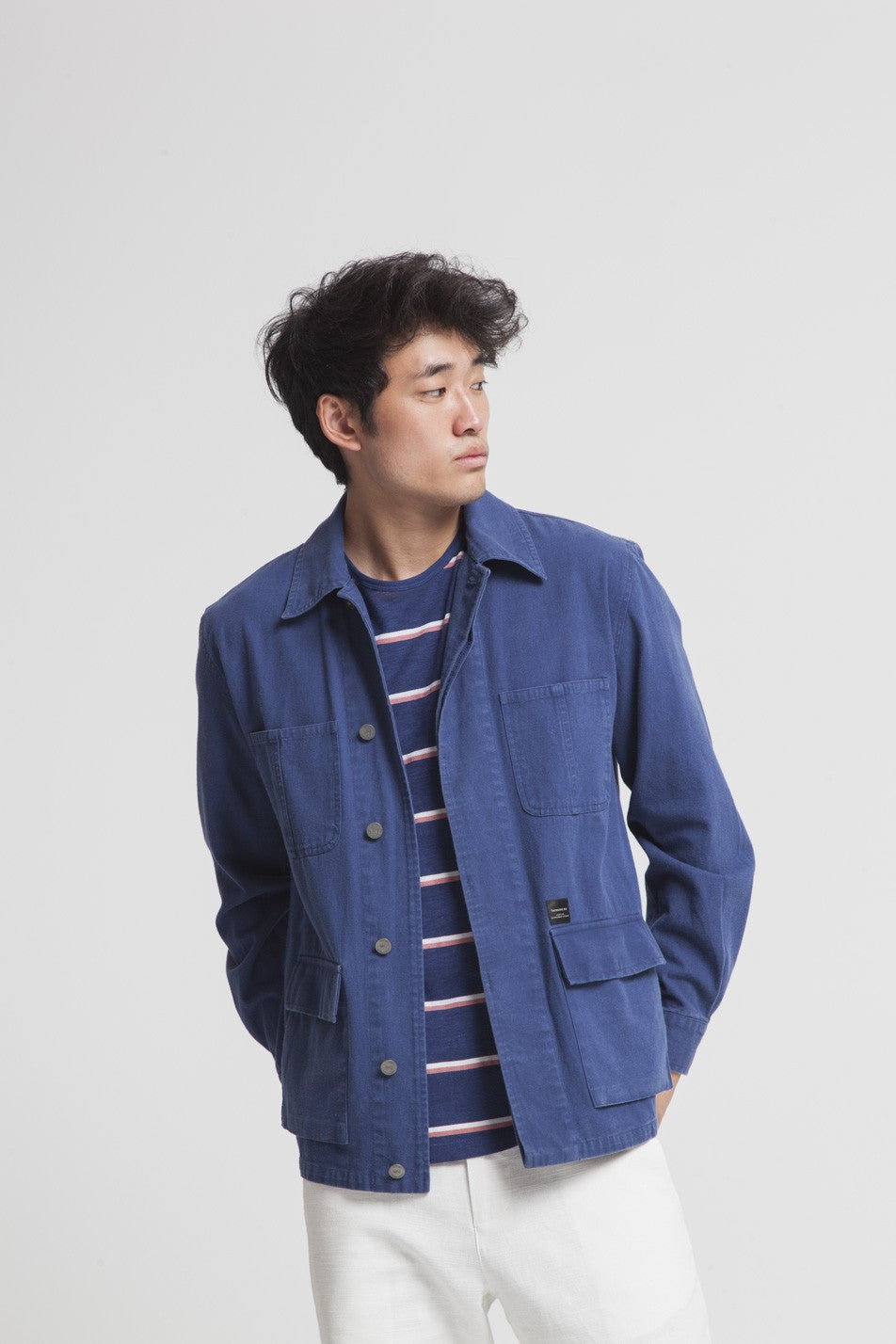 Thinking Mu - Veste bleue en coton bio - blue james