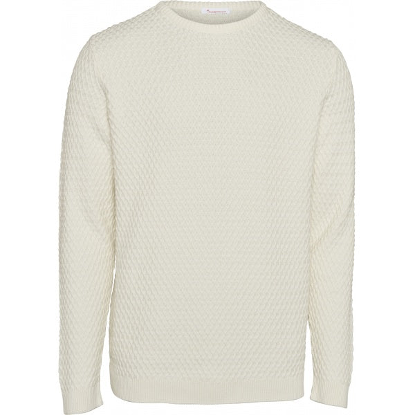 Pull blanc en coton bio - small diamond knit - Knowledge Cotton Apparel num 0
